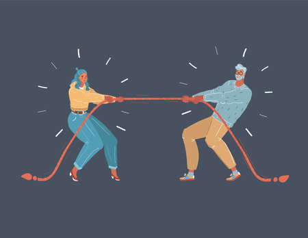 Vector illustration of tug of war people on dark background. Man and woman with rope. Illustration