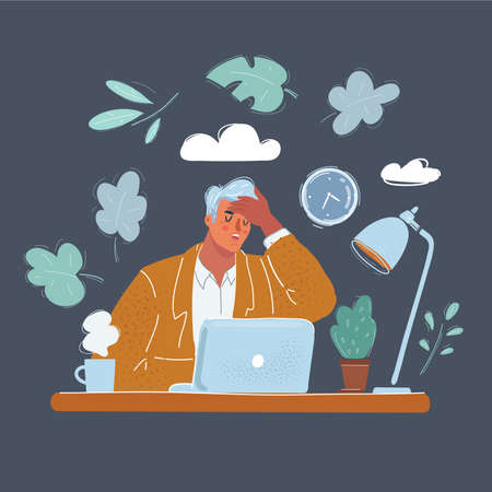 Vector illustration of business man tiered and sick in office. Female character sitting at desk and laptop on white background.