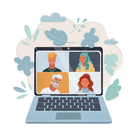 Vector illustration of people chatting online together poster. Men, women have video calling to each other. Internet apps, social media, remote work concept. Human face on laptop screen. Vetores