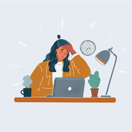 Vector illustration of business woman tiered and sick in office. Female character sitting at desk and laptop on white background.