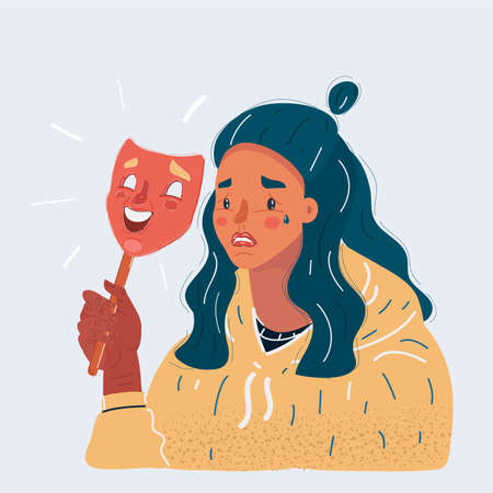 Vector illustration of sad woman wearing smile mask. Fake and hide emotion concept on white background.