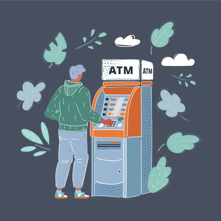 Vector illustration of man draws out money in a cash ATM on dark background.