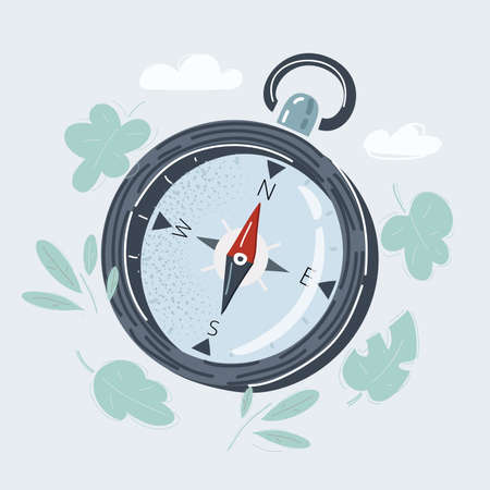 Vector illustration of compass on white background.