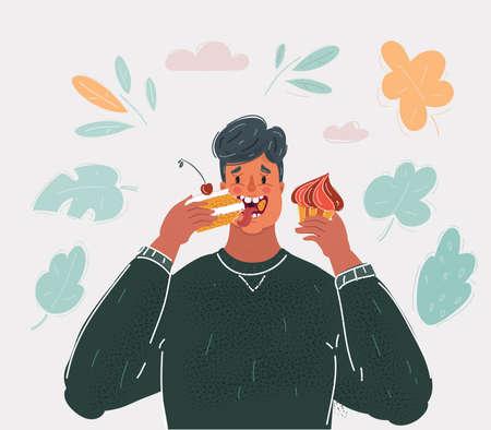 Vector illustration of Man Eating Cakecs