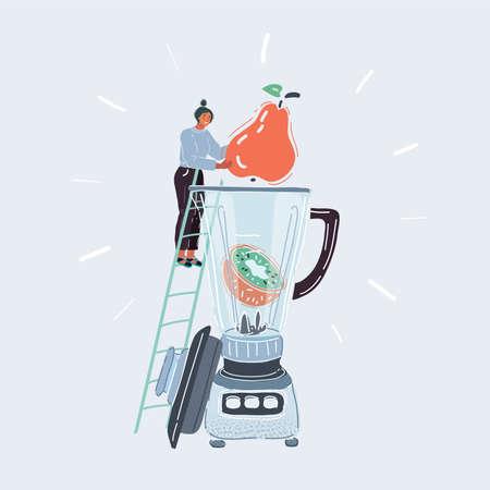 Vector illustration of Fresh mixed fruit in big blender. Woman make smoothie on white background. Illustration