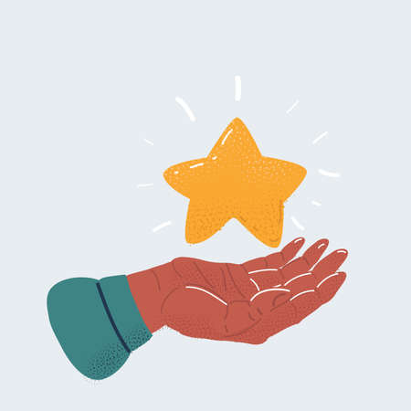 Vector illustration of human hand holding star on white background.