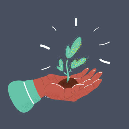 Vector illustration of person holding a small plant in hand. Objects on dark backround. Illustration
