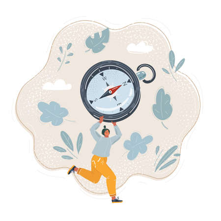 Vector illustration of woman run with compass
