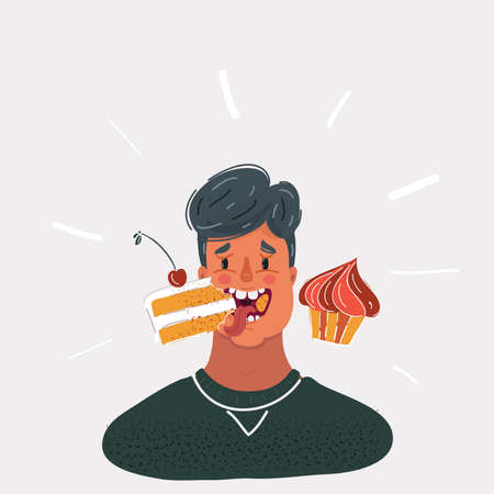 Vector illustration of man eat cakes on white backround. Close up view face