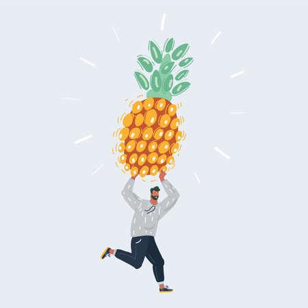 Vector illustration of man hold big pineapple on white backround.