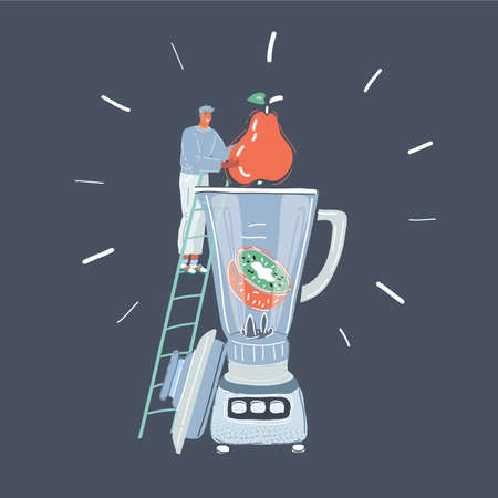 Vector illustration of Kitchen concept on dark background. Tiny man with big fruit and giant blender on dark background. Illustration