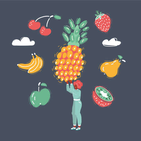 Vector illustration of woman hold big pineapple and fruit around her on dark backround.