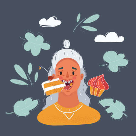 Vector illustration of woman eat cakes on dark backround. Close up view face Illustration