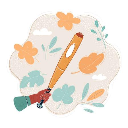 Vector illustration of human hand swinging a baseball bat