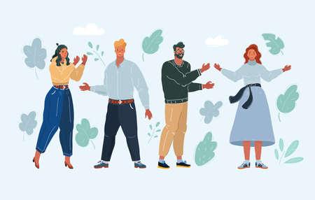 Vector illustration of people on white background. Cartoon women, men