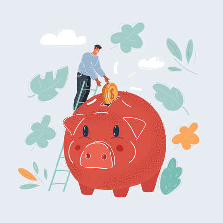 Vector illustration of Piggy bank, money box. man save him money and invest strategy concept on dark background. Illustration