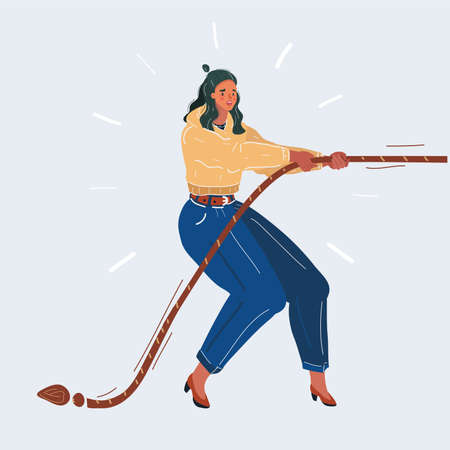 Vector illustration of Businesswoman in tug of war concept