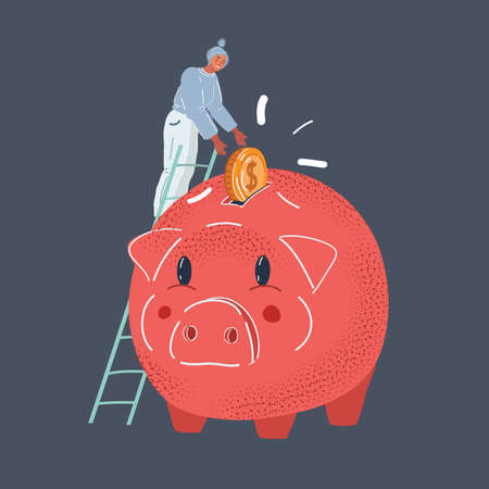 Vector illustration of Piggy bank, money box. Woman save her money and invest strategy concept on dark background. Illustration