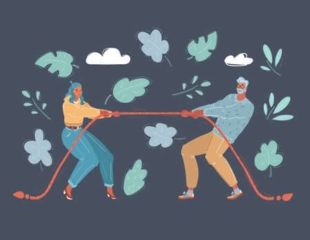 Vector illustration of couple quarrel, tug-of-war. Man and Woman are fighting each other Illustration