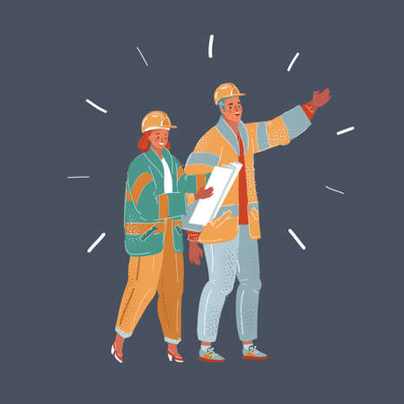 Vector illustration of repair, building and home concept - smiling couple renovating new home together Illustration