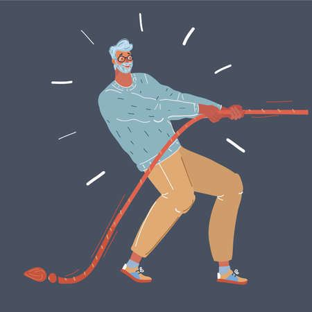 Vector illustration of man pulling a rope tug of war, isolated dark background