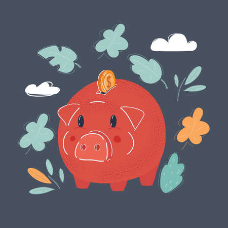 Vector illustration of Piggy bank style money box isolated on a dark background.