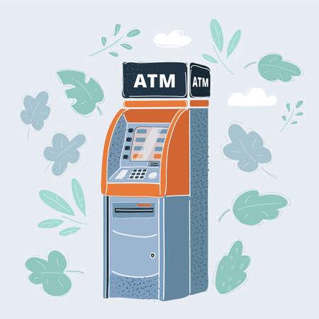 Vector illustration of cash machine. ATM on white. Illustration