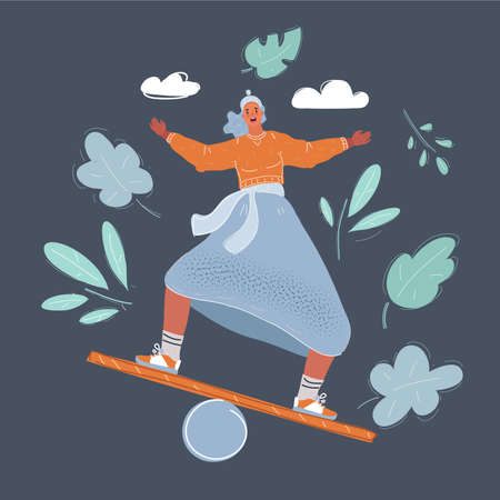 Vector illustration of woman doing a balancing act on dark background. 일러스트