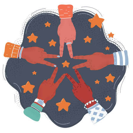 Vector illustration of Five hands their fingers building a star at dark background.