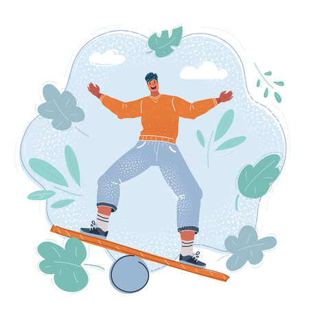 Vector illustration of Young man try balanced. Illustration