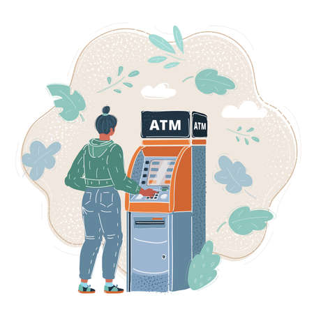 Vector illustration of Woman withdrawing cash at ATM
