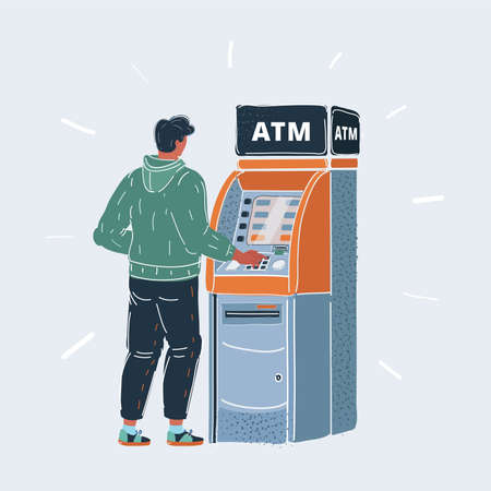 Vector illustration of man making a withdrawall stand near ATM. Character and object on white background.