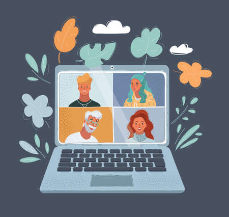 Vector illustration of Online Virtual Meetings, Work from Home Teleconference. Human faces, man and woman at the laptop screen. Object on dark bacgkround.