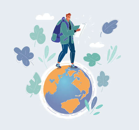 Vector illustration of earth and man walks on different continents. A concept for crowd source or outsourced business.