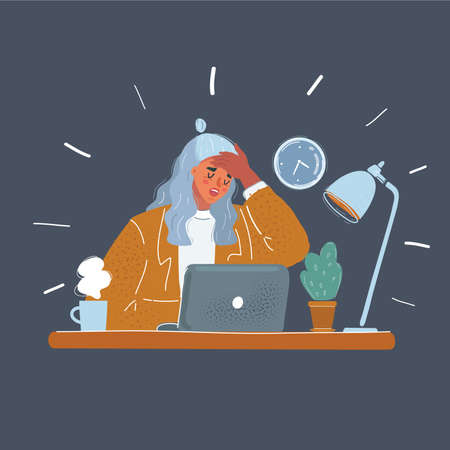 Vector illustration of tired young business woman at night office. Sick and exhausted people concept