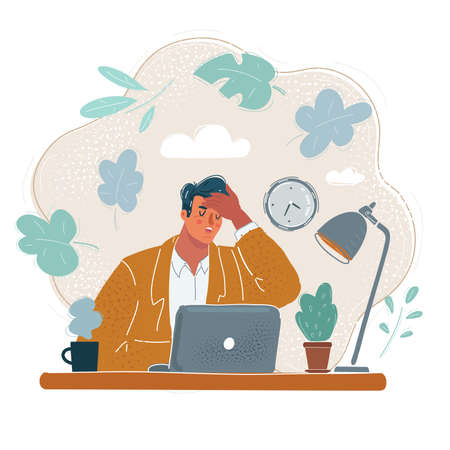 Vector illustration of tired young businessman at office. Sick and exhausted people concept Illustration