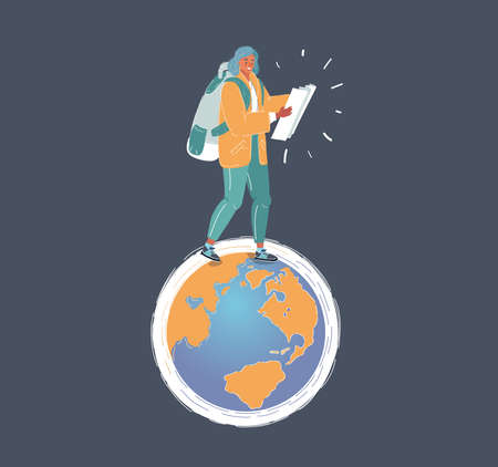 Vector illustration of earth and woman walks on different continents. A concept for crowd source or outsourced business.