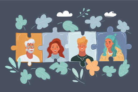 Vector illustration of project team with puzzles, jigsaw. Peope face avatars. Man and woman get together. Female and male characters on dark.