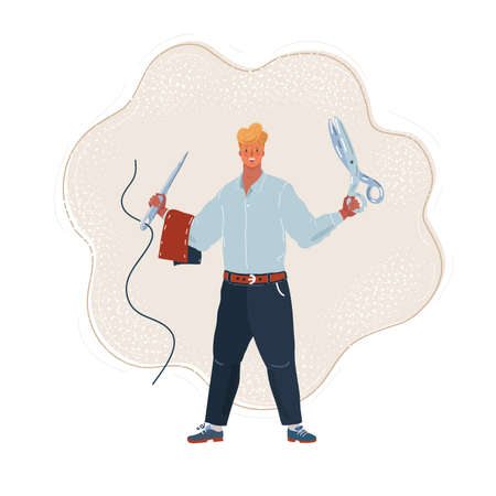 Vector illustration of Tailor man holds a pair of tailor s scissors and a needle and thread