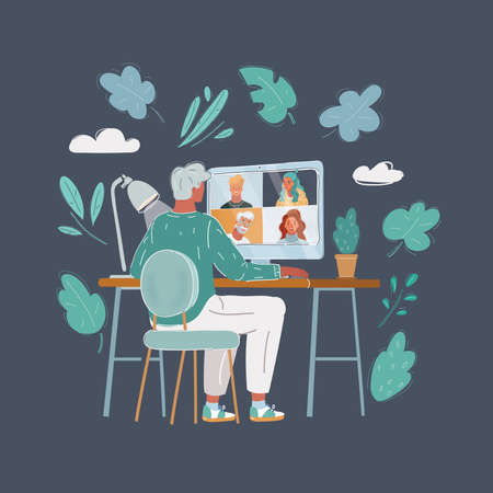 Vector illustration of Back view of man talking to him colleagues in video conference. Business team using chat calling for a online meeting. People smart working home