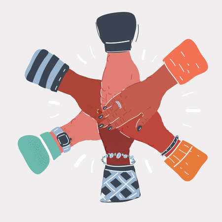 Vector illustration of many hands team together. Friends or colleagues oncept. Stock Illustratie