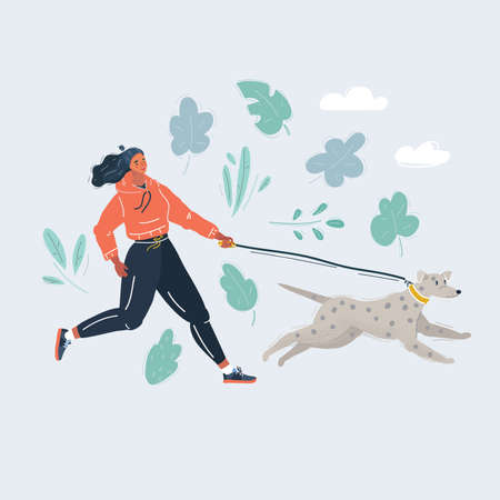 Vector illustration of Woman running with dog on the dune Stock Illustratie