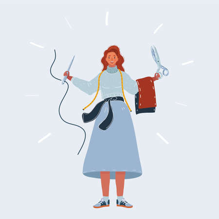 Vector illustration of woman Tailor holds a pair of tailor s scissors and a needle and thread