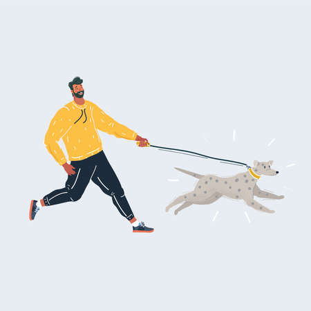 Vector illustration of Man playing and run with his dog. raining and walking concept on white.
