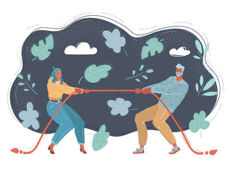 Vector illustration of business competition. Tug of war concept on dark background.