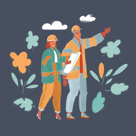 Vector illustration of Two architects holding projects standing together and having a conversation on dark backround.