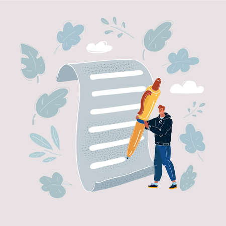 Vector illustration of Young man holding an oversized pencil. Man wright on big paper.