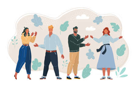 Vector illustration of people. Full growth man and woman.