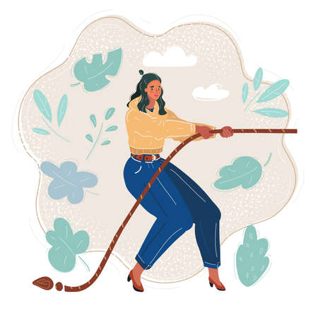 Vector illustration of woman pulling a rope