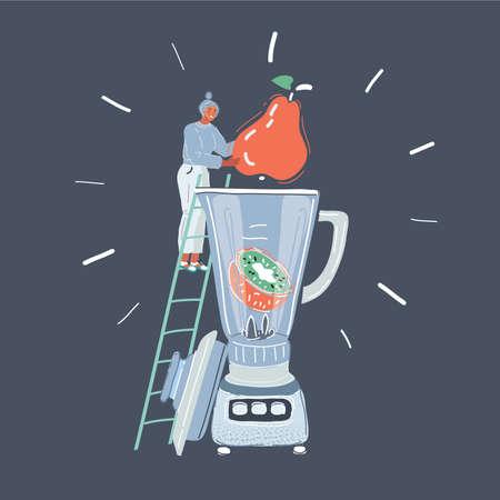 Cartoon illustration of woman using a blender in her kitchen on dark background.